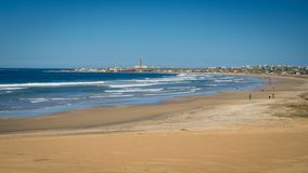 Panoramic view of the National Park of Cabo Polonio and its beach with the lighthouse and houses. In the background, Uruguay stock image