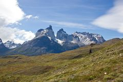Torres del Paine peaks in Chile. Panoramic view on national park Torres del Paine with beautiful composition and blue sky royalty free stock images
