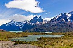 Panoramic view on national park Torres del Paine royalty free stock image