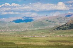 Panoramic view on nature around city Gyumri in Armenia stock photo