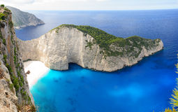 Navagio beach. Panoramic view of Navagio beach in Zakynthos, Greece Stock Photo