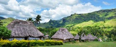 Panoramic view of Navala village Fiji Stock Photos