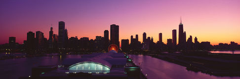 Panoramic view of Navy Pier and Chicago skyline at sunset, Chicago, IL Stock Photos