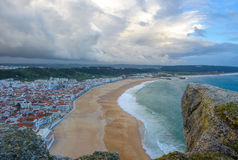 Panoramic view of Nazare beach, Portugal Royalty Free Stock Image