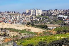 Panoramic view of Nazareth, Galilee, Israel. NAZARETH, ISRAEL - March 09, 2019: panoramic view of modern Nazareth, a city in the Galilee, centered courthouse of royalty free stock images