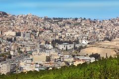 Panoramic view of Nazareth, Galilee, Israel. NAZARETH, ISRAEL - March 09, 2019: panoramic view of modern Nazareth, a city in the Galilee, north of Israel, here royalty free stock photography