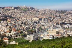 Panoramic view of Nazareth, Galilee, Israel. NAZARETH, ISRAEL - March 09, 2019: panoramic view of modern Nazareth, a city in the Galilee, north of Israel, here stock image
