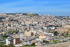 Panoramic view of Nazareth, Israel. Panoramic view of modern Nazareth, a city in the Galilee, north of Israel, here passed the childhood and youth of Jesus stock photos