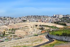 Panoramic view of Nazareth, Israel. Panoramic view of modern Nazareth, a city in the Galilee, north of Israel, here passed the childhood and youth of Jesus royalty free stock image