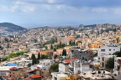 Panoramic view of Nazareth, north of Israel. Panoramic view of modern Nazareth, a city in the Galilee, north of Israel, here passed the childhood and youth of royalty free stock photography