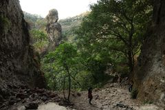 Panoramic view near the top of Tepozteco mountain royalty free stock image