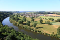 Panoramic view of Neckar river Stock Images
