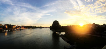 The panoramic view of Neckar river with sunset scene in Heidelberg Royalty Free Stock Photo