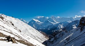 Panoramic view on nepalese mountains royalty free stock image