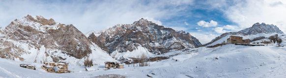 Panoramic view of Nerak Pulu village. Zanskar Valley, Ladakh, India Royalty Free Stock Photos