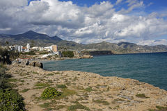 Panoramic view of Nerja, famous resort on Costa del Sol, Spain. Panoramic view of Nerja, famous resort on Costa del Sol, Malaga, Spain Stock Photos