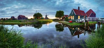 Panoramic view of netherlands rural landscape at night Royalty Free Stock Photo