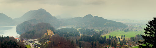 Panoramic view from Neuschwanstein Castle Royalty Free Stock Photo