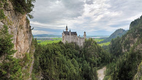 Panoramic view of Neuschwanstein Castle in Bavaria, Germany Royalty Free Stock Photos