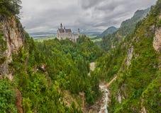 Panoramic view of Neuschwanstein Castle of Germany Stock Photos