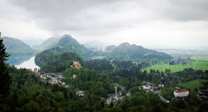 Panoramic view from Neuschwanstein Castle to Hohenschwangau Castle Stock Image