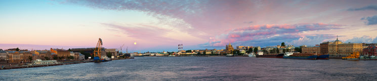 Panoramic view of Neva river in morning Stock Photography