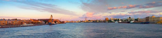 Panoramic view of Neva river in morning Stock Image