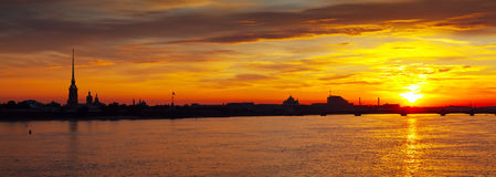 Panoramic view of Neva river summer dawn Stock Image