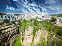 Panoramic view from New bridge in Ronda Royalty Free Stock Photography