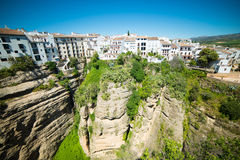 Panoramic view from New bridge in Ronda Stock Images