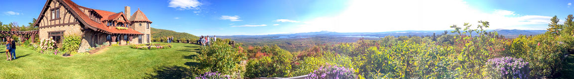 Panoramic view of New England mountains in foliage season.  Royalty Free Stock Photography