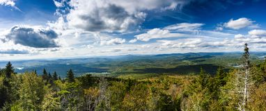 Panoramic view of New Hampshire at Mount sunapee royalty free stock photo