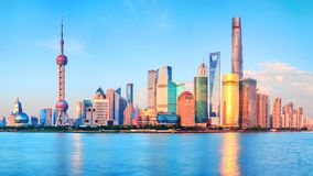 Panoramic View of the new modern district of Shanghai Pudong royalty free stock image