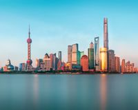 Panoramic View of the new modern district of Shanghai Pudong royalty free stock photography