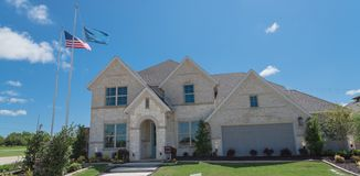Panoramic view new single-family house with nice trim front yard near Dallas, Texas stock photos