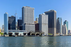 Panoramic view New York City Manhattan downtown skyline at night Royalty Free Stock Photo