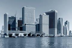 Panoramic view New York City Manhattan downtown skyline at night Royalty Free Stock Image