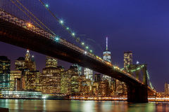 Panoramic view new york city manhattan downtown skyline at night Royalty Free Stock Photography