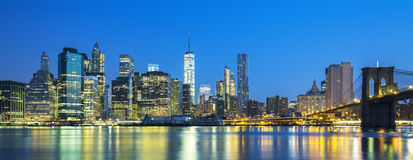 Panoramic view of New York City Manhattan midtown at dusk Royalty Free Stock Photo