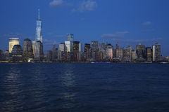 Panoramic view of New York City Skyline at dusk featuring One World Trade Center (1WTC), Freedom Tower, New York City, New York, U Stock Photo