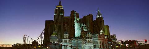 Panoramic view of New York New York Hotel with Statue of Liberty at sunrise, Las Vegas, NV Stock Photo
