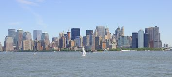 Panoramic View of New York Skyline Stock Photo