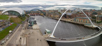 Panoramic view of Newcastle and Gateshead Quayside and Bridges, Royalty Free Stock Photos