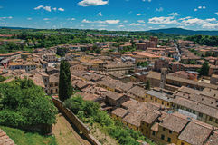 Panoramic view of the newest part of the town of Colle di Val d`Elsa. A graceful village with its historic center preserved and famous for its crystal Stock Photo