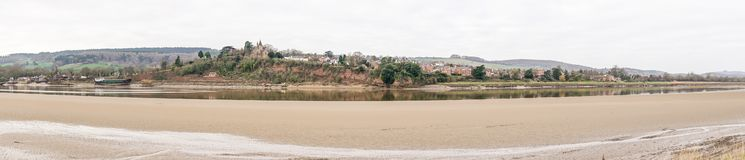 Panoramic view of Newnham on Severn from Arlingham on the banks of the River Severn royalty free stock image