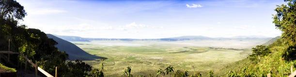 Panoramic View of Ngorongoro Stock Photo