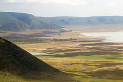 Panoramic view of Ngorongoro crater and rim. Royalty Free Stock Image