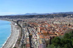 Panoramic view of Nice coastline and old town, France Stock Photography