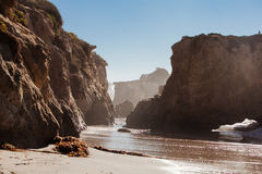 Panoramic view of nice colorful huge cliff and sea. Beautiful rock on one of the most beautiful and popular beaches of Malibu - El Matador Beach Stock Images