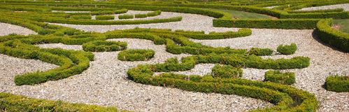 Panoramic view of a nice french garden Stock Image